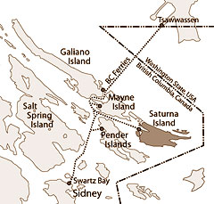 Travel routes to Saturna Island