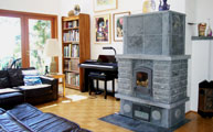Soapstone fireplace in the living room